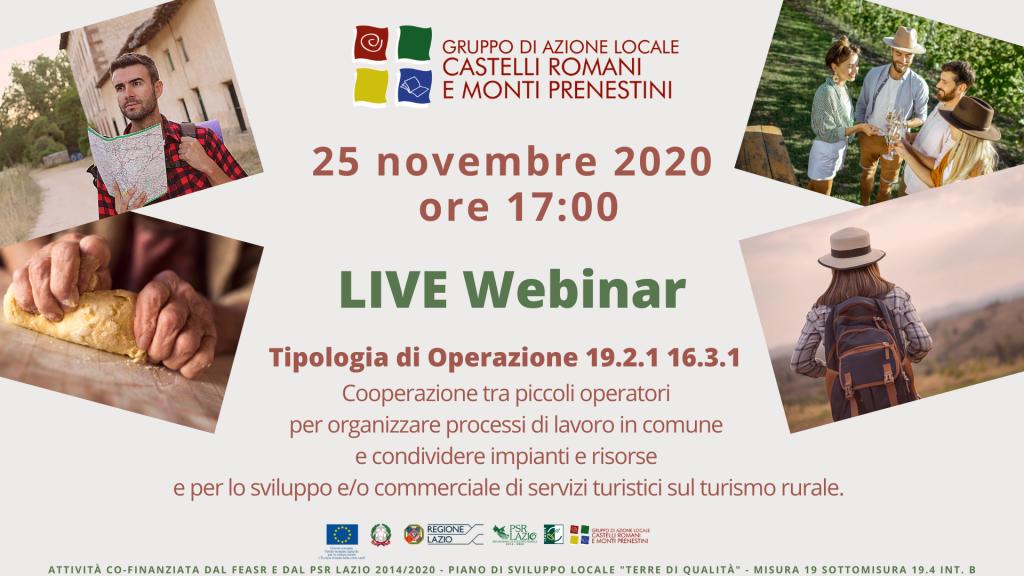 Live webinar Cooperazione e Turismo rurale